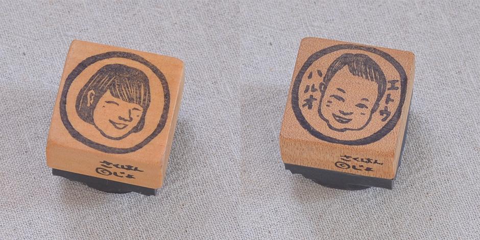 似顔絵はんこ1名/丸囲み(3cm×3cm) 文字なし 4200 円 文字あり4700 円
